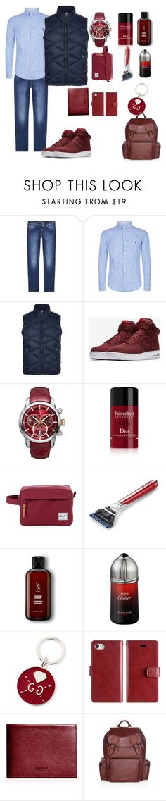 """Sem título #136"" by criscaruccio ❤ liked on Polyvore featuring Jacob Cohёn, Polo Ralph Lauren, BOSS Orange, NIKE, Allurez, Christian Dior, Herschel Supply Co., The Art of Shaving, V76 by Vaughn and Cartier"
