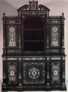 Old curio cabinet with inlaid stones.…beautiful