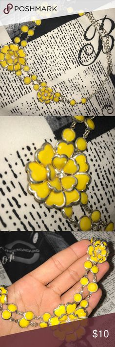 Yellow Statement Necklace Beautiful, eye-catching necklace that will dress any outfit up! Canary yellow with silver accents Jewelry Necklaces
