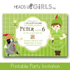 Nice Peter pan birthday party invitations  Download this invitation for FREE at https://www.drevio.com/peter-pan-birthday-party-invitations/