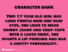 Character Bank: purple haired teen..... I am so using this as Mira's disguise! :D