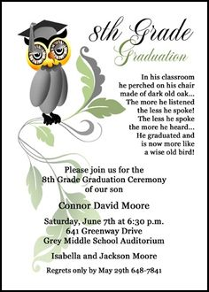 customize any popular and award winning wise owl middle school graduation commencement announcements invitation designs and impress your family and friends 7653IBU-JR at InvitationsByU.com, and find oh so many discounts, incentives, and freebies