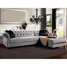 Furniture of America Elegant Aristocrat Tufted Sectional (Grey), Black (Fabric)