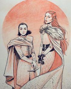 Arya and Sansa Sansa Stark, Arya Stark Art, Comic Book Artists, Comic Artist, Game Of Thrones Tv, I Love Games, Mother Of Dragons, Cartoon Tv, Badass Women