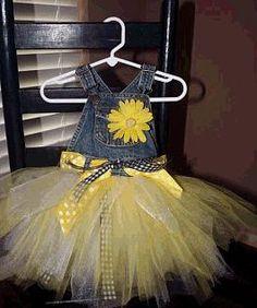 Urban Daisies: Denim Sunflower Tutu Dress