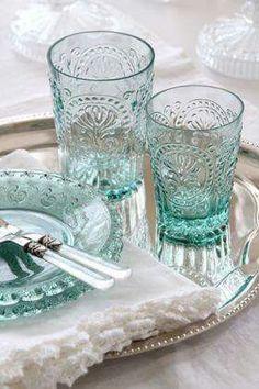 Silver tray and aqua glassware