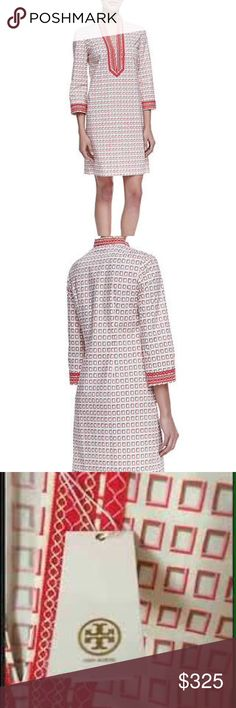 TORY BURCH MINI TUNIC DRESS Square-print dress with contrast trim. Split neckline. Three-quarter sleeves. Relaxed silhouette. Straight, above-the-knee hem. Cotton/spandex. Imported. ✔️Reasonable offers will be considered. Smoke/pet free environment. Tory Burch Dresses Mini