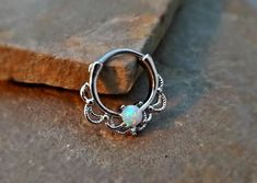 Septum Clicker White Fire Opal Nose Jewelry 16ga Daith Ring Clicker Bull Ring Nose Piercing