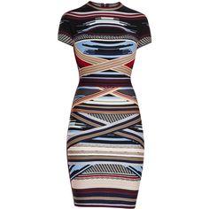 Herve Leger Lisette Engineered Multi-Stripe Dress ($1,840) ❤ liked on Polyvore featuring dresses, vestidos, cut out bandage dress, multi colored dress, colorful striped dress, cut out dresses and striped dresses