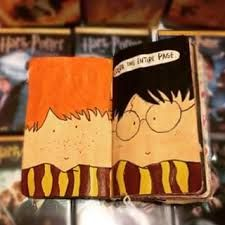 Wreck This Journal☆ Harry Potter & Ron Weasley Wreck This Journal, Wreak This Journal Pages, Bullet Journal Ideas Pages, Art Journal Pages, Journal Entries, Smash Book Inspiration, Art Journal Inspiration, Creative Notebooks, Create This Book