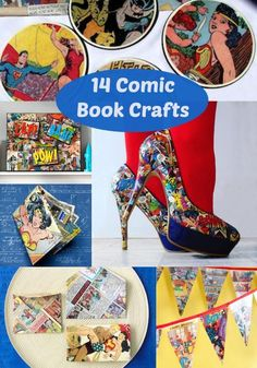 Comic Book Crafts That Are Awesomely Geeky – DIY Candy 14 super amazing comic book needlework. These fantastic DIY projects are perfect for adults, teenagers and children! Geek Crafts, Arts And Crafts Projects, Fun Crafts, Diy Projects, Retro Crafts, Comic Book Crafts, Comic Books, Comic Book Shoes, Party Banner