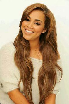 Lauren Nicole London. Long lush brown hair.