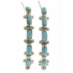 Zuni Needlepoint Turquoise Earrings Half Hoop Posts