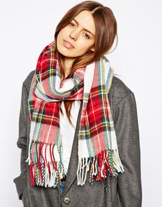 $33, Red Plaid Scarf: Asos Plaid Check Scarf. Sold by Asos. Click for more info: http://lookastic.com/women/shop_items/80881/redirect