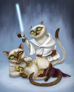 Star Wars Cats - art print - Siamese Luke and slave girl bikini Leia kitty with lightsaber on a blue background By GeekyPet Crazy Cat Lady, Crazy Cats, I Love Cats, Cool Cats, Siamese Cats, Cats And Kittens, Cat People, Nerd, Here Kitty Kitty