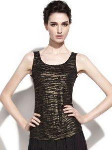Chic Black Scoop Neck Animal Print Spandex Camis For Women