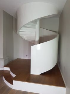 Spiral stairway - floating upwards on a hollow wooden tube and timber moulded frame - Designed & crafted by MEWA Fine Woodworking Fine Woodworking, Stairways, Craftsman, Spiral, Tube, Frame, Home Decor, Stairs, Artisan