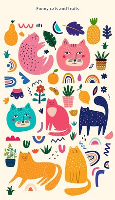 Cute spring collection with cats. Decorative abstract horizontal banner with colorful cats. Hand-drawn modern illustrations with cats and flowers - Buy this stock vector and explore similar vectors at Adobe Stock Pattern Art, Pattern Design, Cat Pattern, Abstract Pattern, Pattern Painting, Rainbow Clipart, Cat Clipart, Abstract Shapes, Abstract Designs