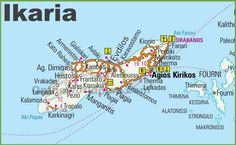 Ikaria road map Ikaria Greece, Chios Greece, Crete, Zorba The Greek, Greece Travel, Greece Trip, Samos, Sardinia, Greek Islands