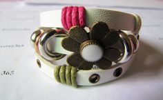 3 Circles Copper Flower With Metal Snapper women white leather bracelet by braceletcool, $7.00