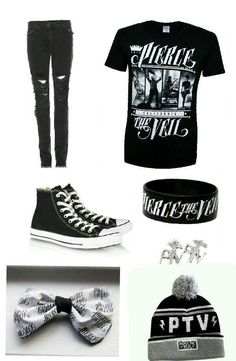 Pierce The Veil outfit. I prefer the bow over the beanie, but the outfit is too cute! Band Outfits, Scene Outfits, Disney Outfits, Cute Emo Outfits, Grunge Outfits, Skater Outfits, Alternative Outfits, Alternative Fashion, Pierce The Veil