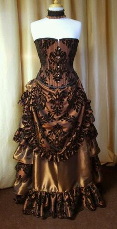 Demask pattern corset Victorian style Steampunk dress (just the pic). Absolutely… Demask pattern corset Victorian style Steampunk dress (just the pic). Style Steampunk, Steampunk Couture, Steampunk Dress, Steampunk Wedding, Steampunk Clothing, Steampunk Fashion, Gothic Clothing, Victorian Corset, Victorian Steampunk