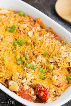 Cheesy Tomato Casserole Recipe- tangy tomatoes topped with buttery crackes and cheese!