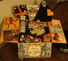 Eat Drink and Be Scary Caution: Zombies Ahead Halloween Care Package Idea Halloween Gift Baskets, Halloween Items, Scary Halloween, Halloween Treats, Halloween Decorations, Cute Birthday Gift, Halloween Birthday, Birthday Kids, Craft Stick Crafts