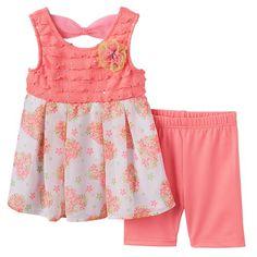 Little Lass Eyelash Floral Dress & Leggings Set - Toddler Girl