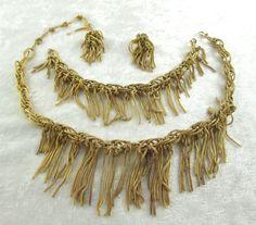 Vintage Robert DeMario Signed Gold Toned Mesh Fringe 4 Piece Jewelry Set 1945-65 #DeMario