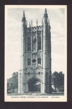 University of Missouri Tigers Columbia MO Memorial Tower Vintage Postcard | eBay