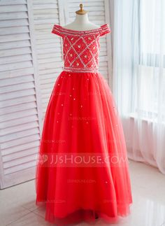 [US$ 84.69] Ball Gown Floor-length Flower Girl Dress - Satin/Tulle Off-the-Shoulder With Sequins/Rhinestone