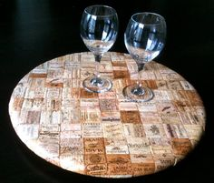 Impressive: flattening the corks to make a lazy susan.