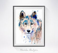 Wolf 2 watercolor painting print , Wolf art, dog art, Animal watercolor, Wolf Painting, Wolf Illustration, Animal art, print art   This is a print of my