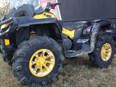 """Yellow Positive Venoms with Bullet Edge and """"Gorilla Axle"""" engraved on edge with head in center Venom, Bullet, Monster Trucks, Wheels, Yellow, Vehicles, Bullets, Cars, Vehicle"""