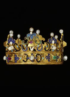 A Renaissance gold, enamel, emerald, ruby and pearl coronet, German, circa 1600.