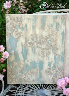 Duck Egg Blue and Old White on Canvas with Artisan Enhancements Fine Stone, Crackle Tex, Scumble (mixed with French Linen) and Clear Topcoat.  New advanced technique workshop at Camas Antiques with Amanda of Girl in Pink.