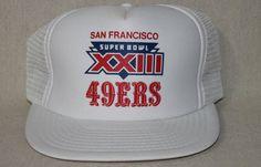 San Francisco 49ers  NFL XXIII 1989 Super Bowl White Mesh Snapback Cap Hat Like New Rare Vintage