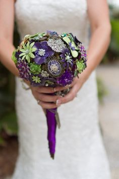purple and green brooch bouquet