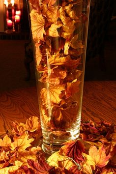Autumn wedding Centre Piece, fill vases and bowls with free autumn leaves