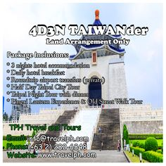 4 DAYS TAIWANDER (Land Arrangement Only) Minimum of 2 persons  For more inquiries please call: Landline: (+63 2)282-6848 Mobile: (+63) 918-238-9506 or Email us: info@travelph.com #Taipei #Taiwan #TravelPH #TravelWithNoWorries Hotel Breakfast, Taipei Taiwan, Old Street, Tours, City, Travel, Viajes, Cities, Destinations
