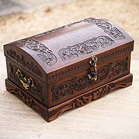 Mohena wood and leather jewelry box, 'Colonial Legacy' - Colonial Legacy from They help succeed worldwide. Decorative Accessories, Decorative Boxes, Diy Storage Ottoman, Leather Jewelry Box, Trunks And Chests, Wooden Jewelry Boxes, Wood Boxes, Unique Furniture, Box Design