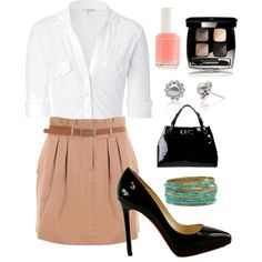 Love this style. Good business casual. Though I would go with a different color for the skirt