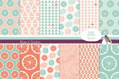 Summery Lemonade Digital Patterns - Hand Drawn Summery Lemon and Lime Graphics in Mint and Coral by Blixa6Studios on Etsy https://www.etsy.com/listing/198162597/summery-lemonade-digital-patterns-hand
