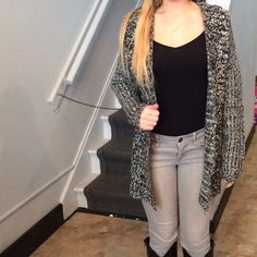 Open Front Knit Cardigan Brand New with Tags Open Front Knit Black & White Cardigan. Size Small. The perfect addition to your Winter wardrobe. No trades :) Forever 21 Sweaters Cardigans
