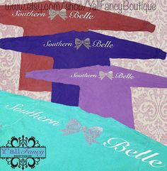 Southern Belle Oversized Comfort Colors Long Sleeve Bow T-Shirt on Etsy, $24.00