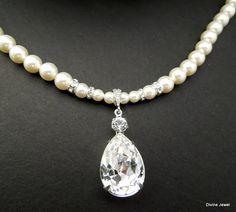 Pearl Necklace,Pearl Wedding Rhinestone Necklace,Ivory Pearls,Swarovski Crystal,Pearl,Bridal Statement Necklace,Crystal Necklace,Bride,ARIA