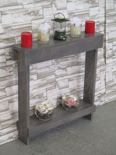Small accent table / Skinny Table /Small Side Table/ Narrow Entry Table / Entryway Table / Wood Table / Wood Furniture / Rustic / Gray Stain - All About Decoration Diy Pallet Furniture, Rustic Furniture, Table Furniture, Entryway Furniture, Painted Furniture, Furniture Design, Entrance Table Decor, Entryway Tables, Console Tables