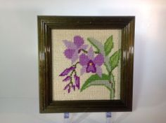 Vintage Old Needlepoint of Purple Iris's in a Wood Frame