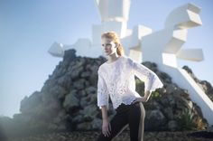 Blouse in silk organza with placed embroidery | NELYNE blouse | Anne Fontaine